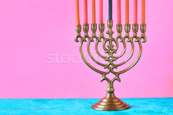 Hanukkah menorah with candles on the pink background horizontal Stock photo © Karpenkovdenis