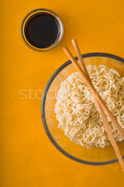 Soup Ramen noodles in bowl and soy sause Stock photo © Karpenkovdenis