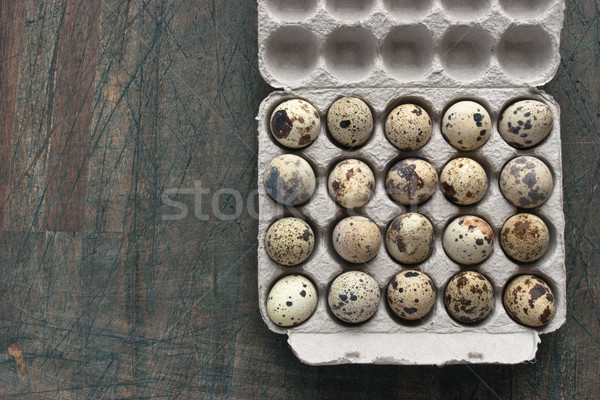 Quail eggs in the cardboard packing on the grey table Stock photo © Karpenkovdenis