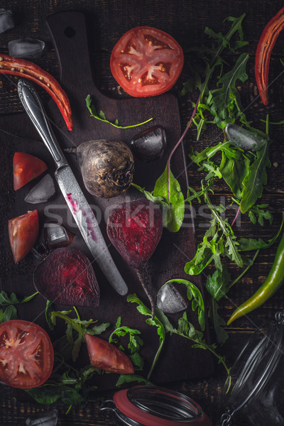 Stock photo: Ingredients for vegetable smoothie on the old wooden table vertical