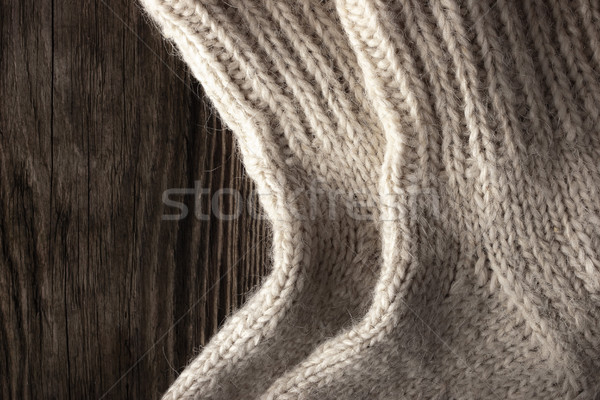 Knitted wool socks on the wooden background Stock photo © Karpenkovdenis