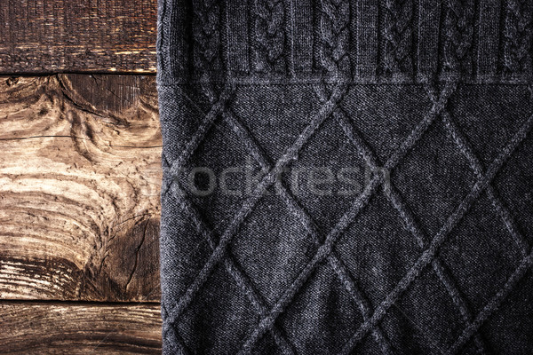 Grey figured sweater on the wooden background Stock photo © Karpenkovdenis