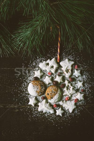 Noel top kurabiye ahşap dikey tablo Stok fotoğraf © Karpenkovdenis