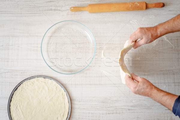 Cooking pizza dough on the table Stock photo © Karpenkovdenis