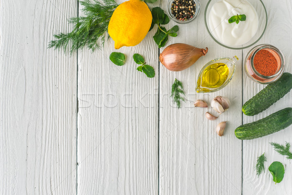 Ingredients for tzatziki on the white table  top view Stock photo © Karpenkovdenis