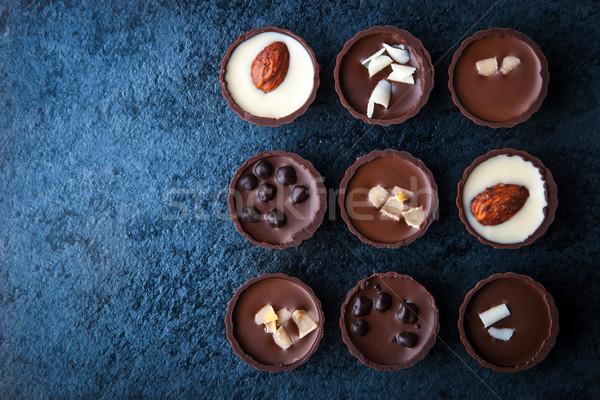 チョコレート 青 石 水平な 食品 ストックフォト © Karpenkovdenis
