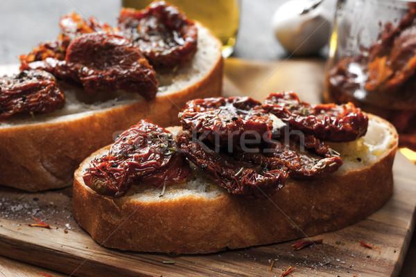 トマト 白パン 木板 水平な 食品 表 ストックフォト © Karpenkovdenis