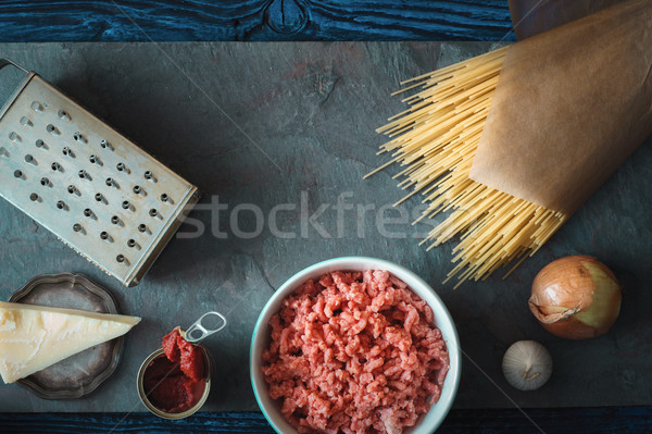 Ingredients for spaghetti with meatball on the stone background horizontal Stock photo © Karpenkovdenis