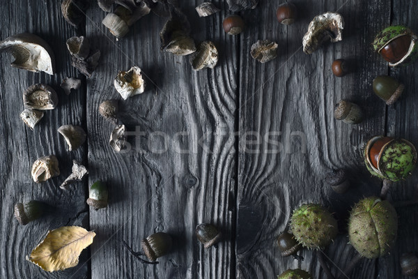 Frame of autumn gifts on the wooden table top view Stock photo © Karpenkovdenis