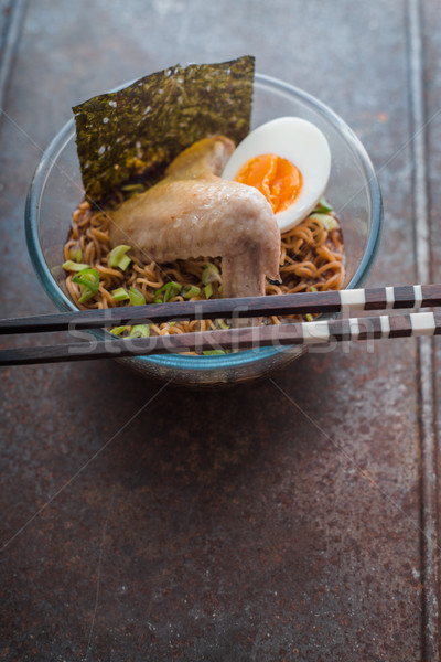 Soup Ramen noodle with chicken wing and egg Stock photo © Karpenkovdenis