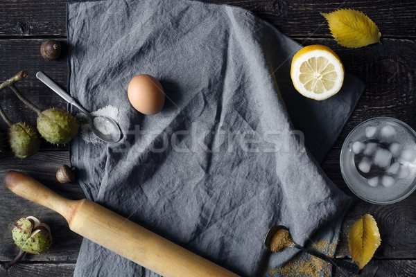 Cooking set on the wooden table top view Stock photo © Karpenkovdenis