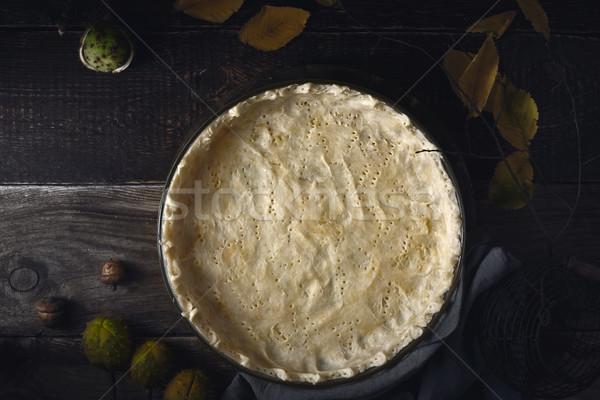 Pasta yemek ahşap masa üst Stok fotoğraf © Karpenkovdenis