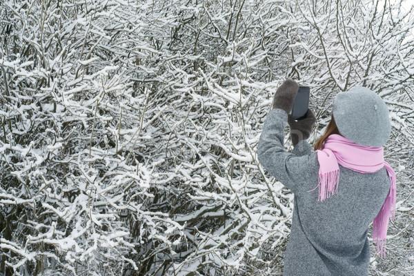 Woman takes photos of the snow-covered trees Stock photo © Karpenkovdenis