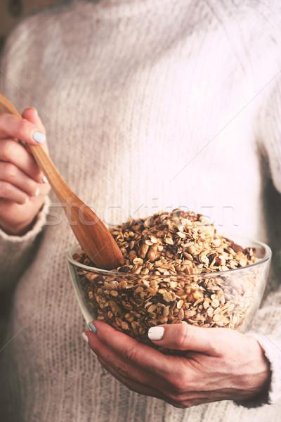 üveg tál granola nő kezek függőleges Stock fotó © Karpenkovdenis