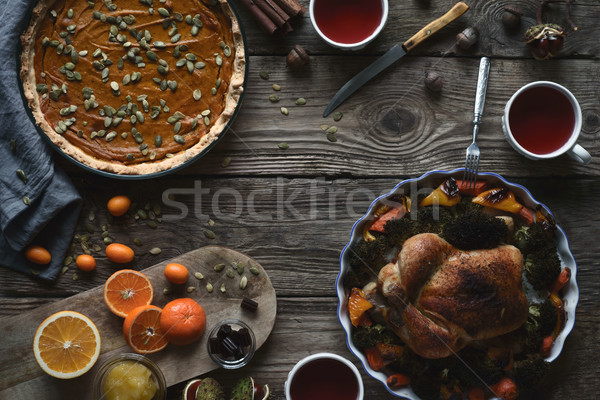Wooden table served for Thanksgiving dinner horizontal Stock photo © Karpenkovdenis