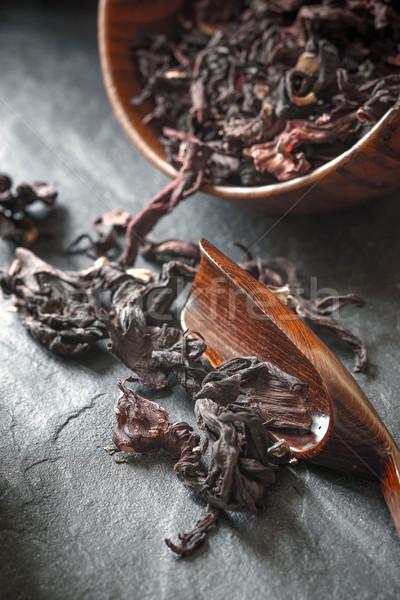 ハイビスカス 茶 木製 ボウル 暗い 石 ストックフォト © Karpenkovdenis