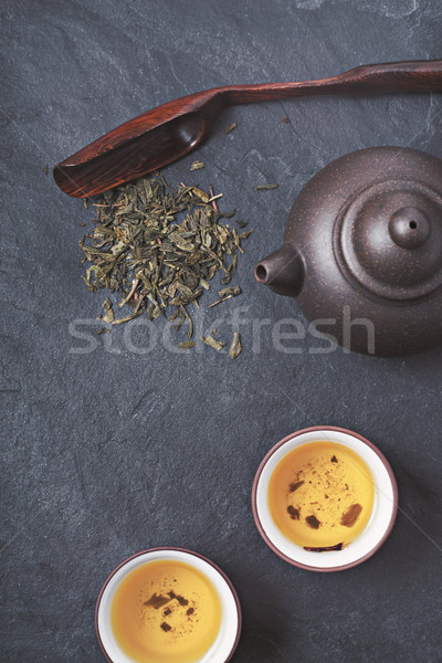 Chinese teapot and bowl  with green tea on the stone background vertical Stock photo © Karpenkovdenis