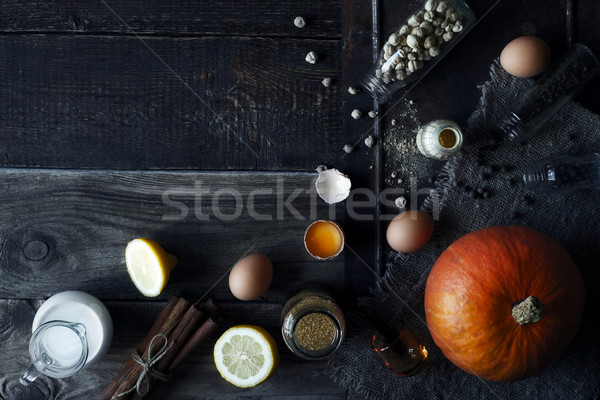 Ingredients for pumpkin pie on the wooden table top view Stock photo © Karpenkovdenis