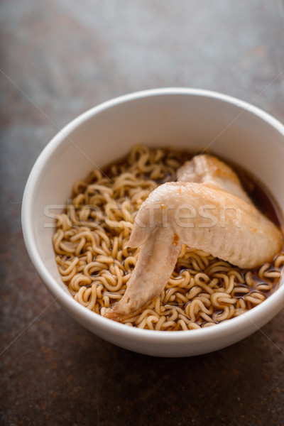 Soup Ramen noodle with chicken wing in ceramic bowl Stock photo © Karpenkovdenis