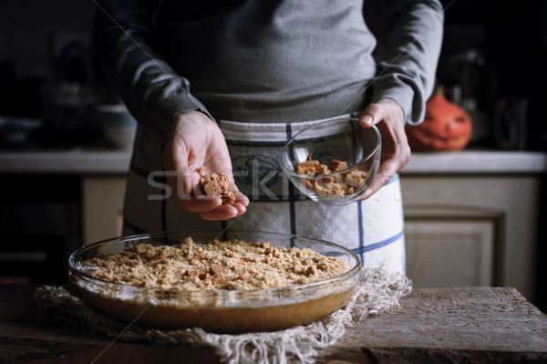 Adding toffee in the dough for pumpkin dump cake Stock photo © Karpenkovdenis