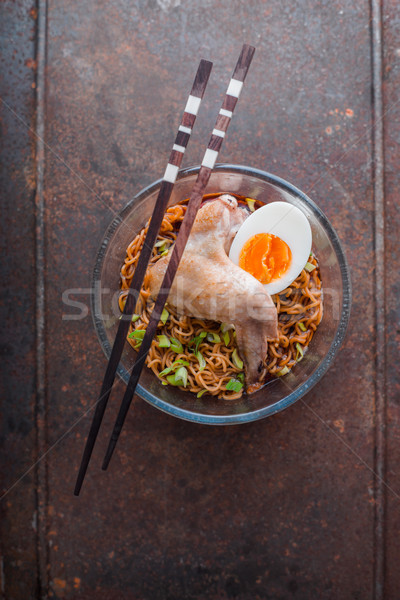 Soup Ramen noodle with chicken wing on the old metal Stock photo © Karpenkovdenis