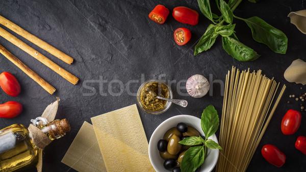набор итальянской кухни черный каменные таблице стекла Сток-фото © Karpenkovdenis