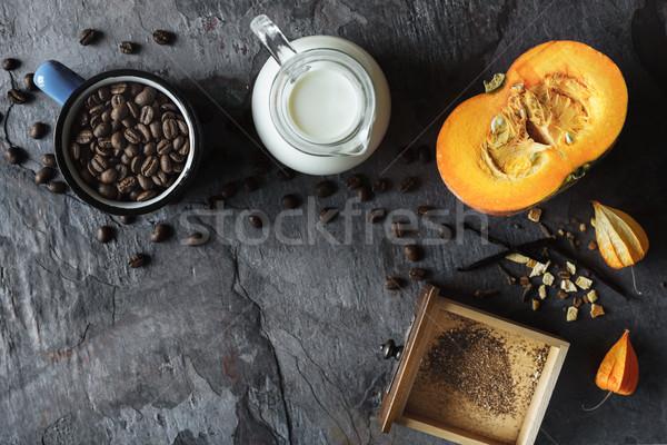 秋 静物 カボチャ コーヒー 先頭 表示 ストックフォト © Karpenkovdenis