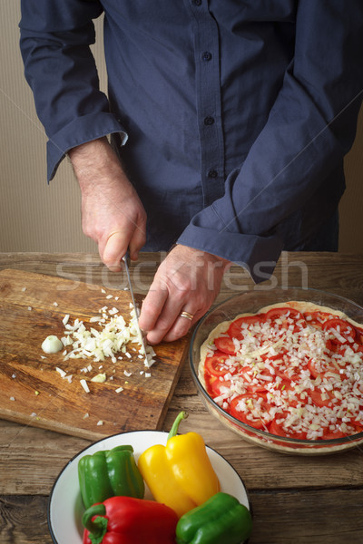 Sliced onion pizza on a cutting board Stock photo © Karpenkovdenis