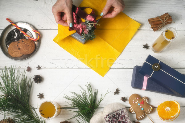 Gift packaging still life on the white wooden background Stock photo © Karpenkovdenis