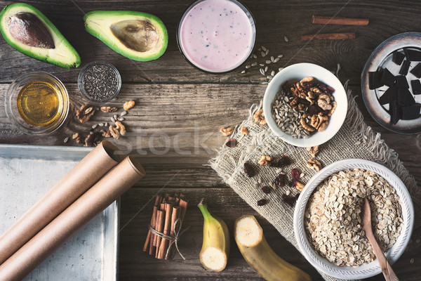 Ingredienti sani colazione tavolo in legno frutta verde Foto d'archivio © Karpenkovdenis