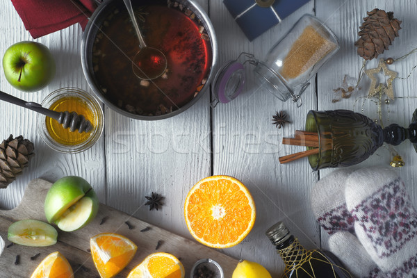 Set for mulled wine preparation on the white wooden table top view Stock photo © Karpenkovdenis