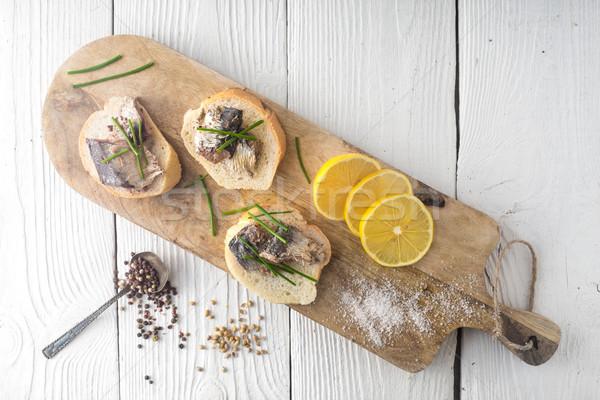 サンドイッチ まな板 家 魚 健康 背景 ストックフォト © Karpenkovdenis
