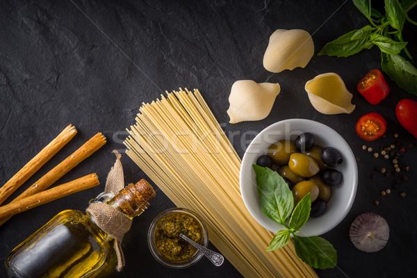 Stock fotó: Szett · olasz · étel · fekete · kő · asztal · felső