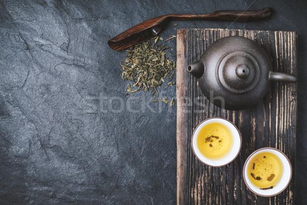 中国語 ティーポット ボウル 緑茶 石 先頭 ストックフォト © Karpenkovdenis