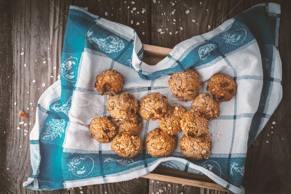Cookies asciugamano tavolo in legno orizzontale alimentare Foto d'archivio © Karpenkovdenis