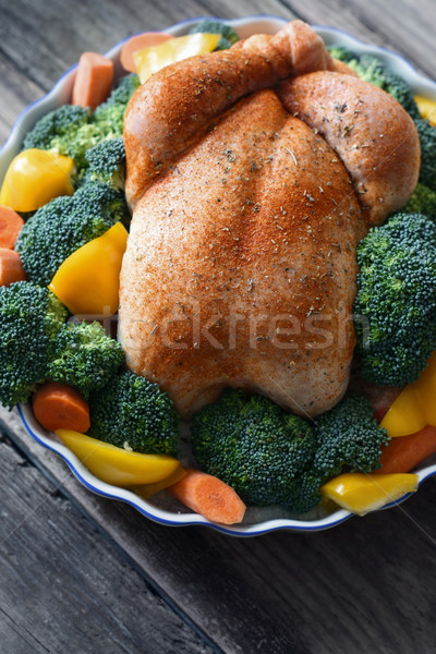 Thanksgiving turkey with spices and vegetables on the wooden table Stock photo © Karpenkovdenis