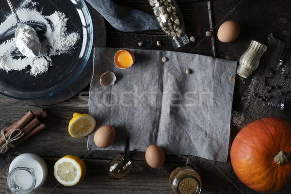材料 カボチャ パイ 木製のテーブル 食品 背景 ストックフォト © Karpenkovdenis