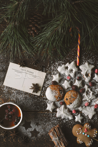 Christmas ball made by  cookies on the wooden background with different accessorizes vertical Stock photo © Karpenkovdenis