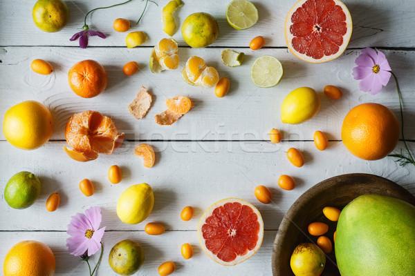 Citrus witte houten horizontaal achtergrond Stockfoto © Karpenkovdenis