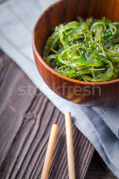 ストックフォト: サラダボウル · 木製のテーブル · 背景 · 緑 · 青 · サラダ