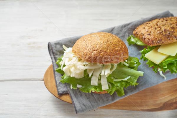 Vegetable sandwiches on the white wooden table Stock photo © Karpenkovdenis