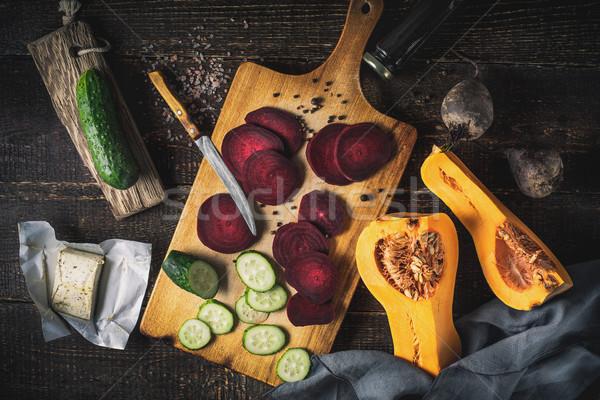 Vegetali tavolo in legno top view alimentare Foto d'archivio © Karpenkovdenis