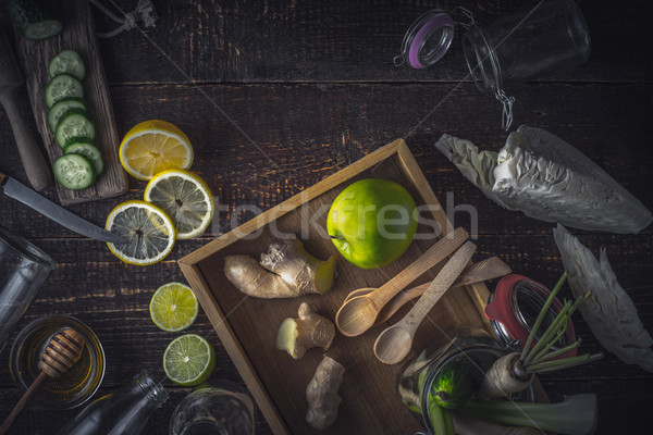 Ingrédients smoothie vert table en bois horizontal fruits santé Photo stock © Karpenkovdenis