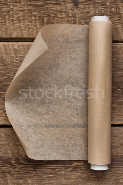 オープン ロール 紙 木製のテーブル 表 クリーン ストックフォト © Karpenkovdenis