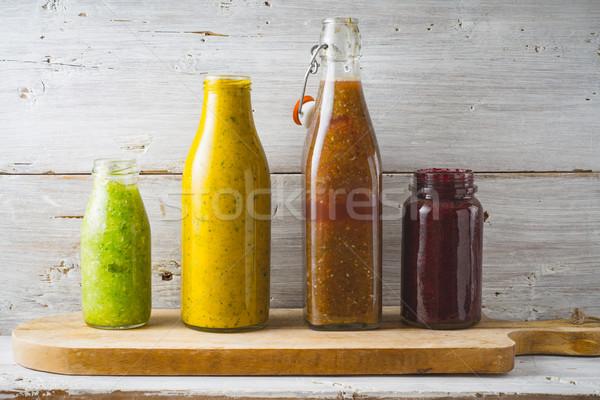 ボトル jarファイル 異なる スムージー 白 木製 ストックフォト © Karpenkovdenis