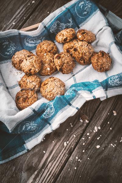 Kása sütik mazsola doboz függőleges étel Stock fotó © Karpenkovdenis