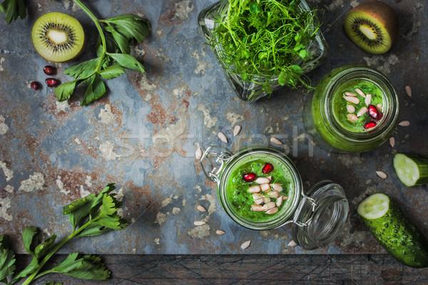 Ingrediënten groene veganistisch smoothie granaatappel rustiek Stockfoto © Karpenkovdenis