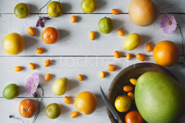 Citrus mix on the white wooden background Stock photo © Karpenkovdenis
