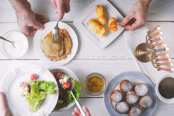 Hanukkah traditional dinner top view Stock photo © Karpenkovdenis