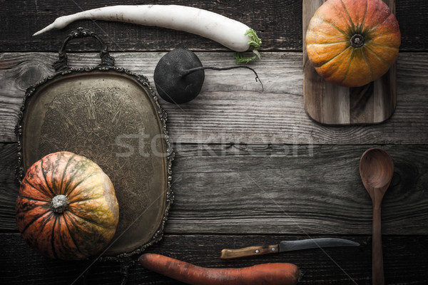 Vegetable mix with vintage tray and kitchenware top view Stock photo © Karpenkovdenis
